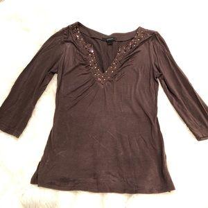 Brown V neck sequin detail top